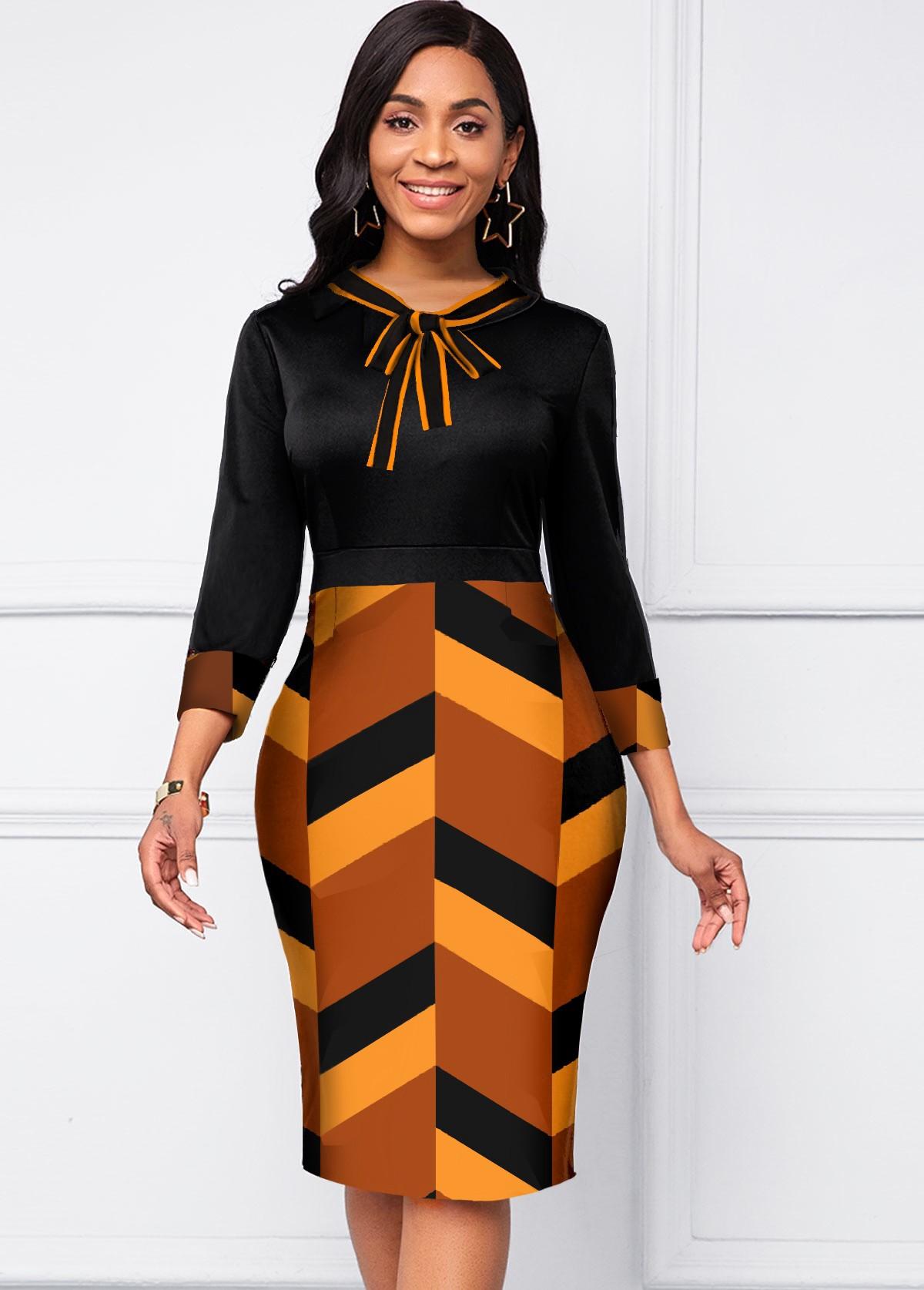 ROTITA Geometric Print Tie Neck Three Quarters Sleeve Dress