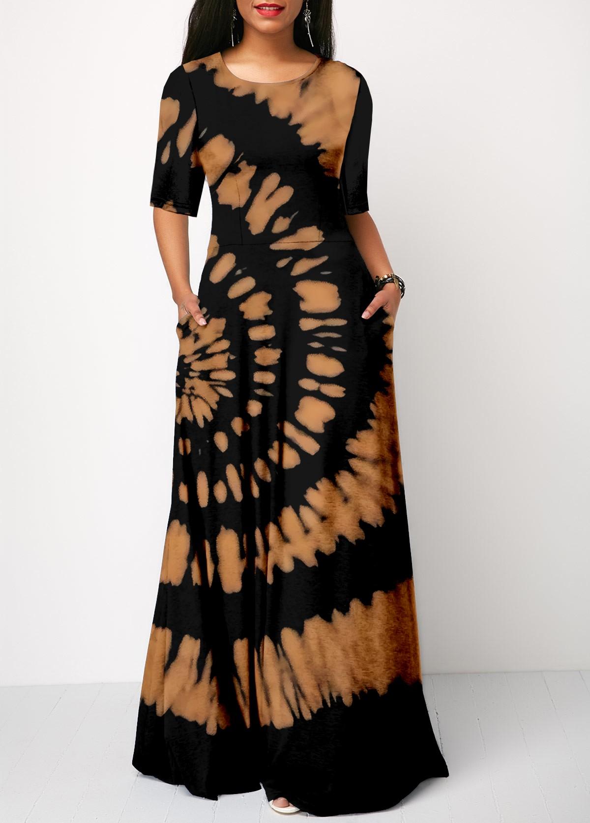 ROTITA Half Sleeve Tie Dye Print Round Neck Dress