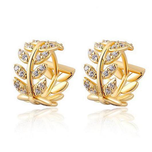 Leaf Design Rhinestone Detail Gold Earrings