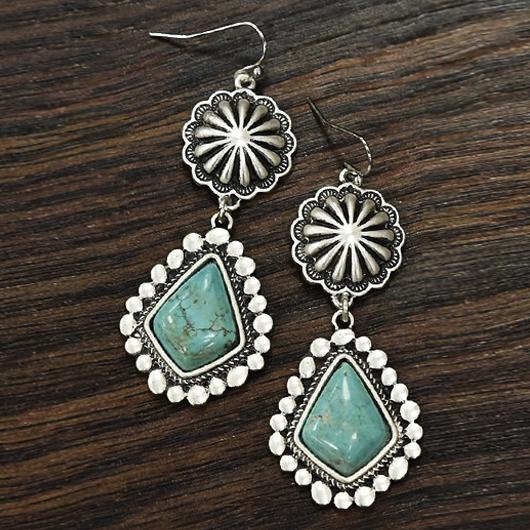 Gem Inlay Flower Design Metal Detail Earring Set