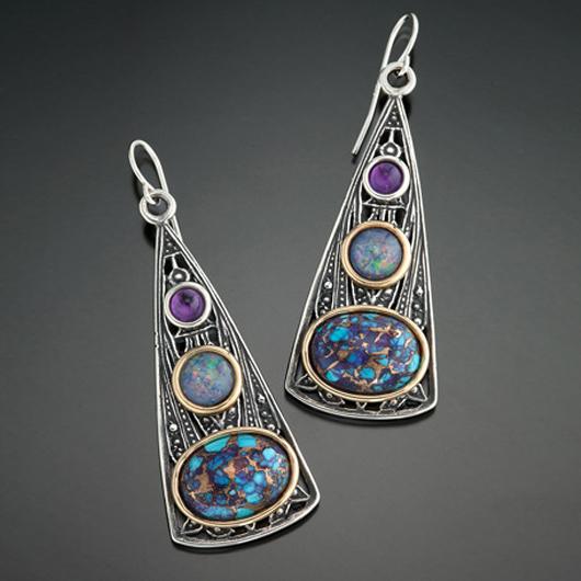 Triangle Tribal Design Gem Inlay Earring Set