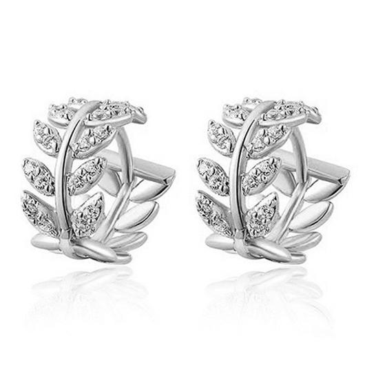 Leaf Design Rhinestone Detail Silver Earrings