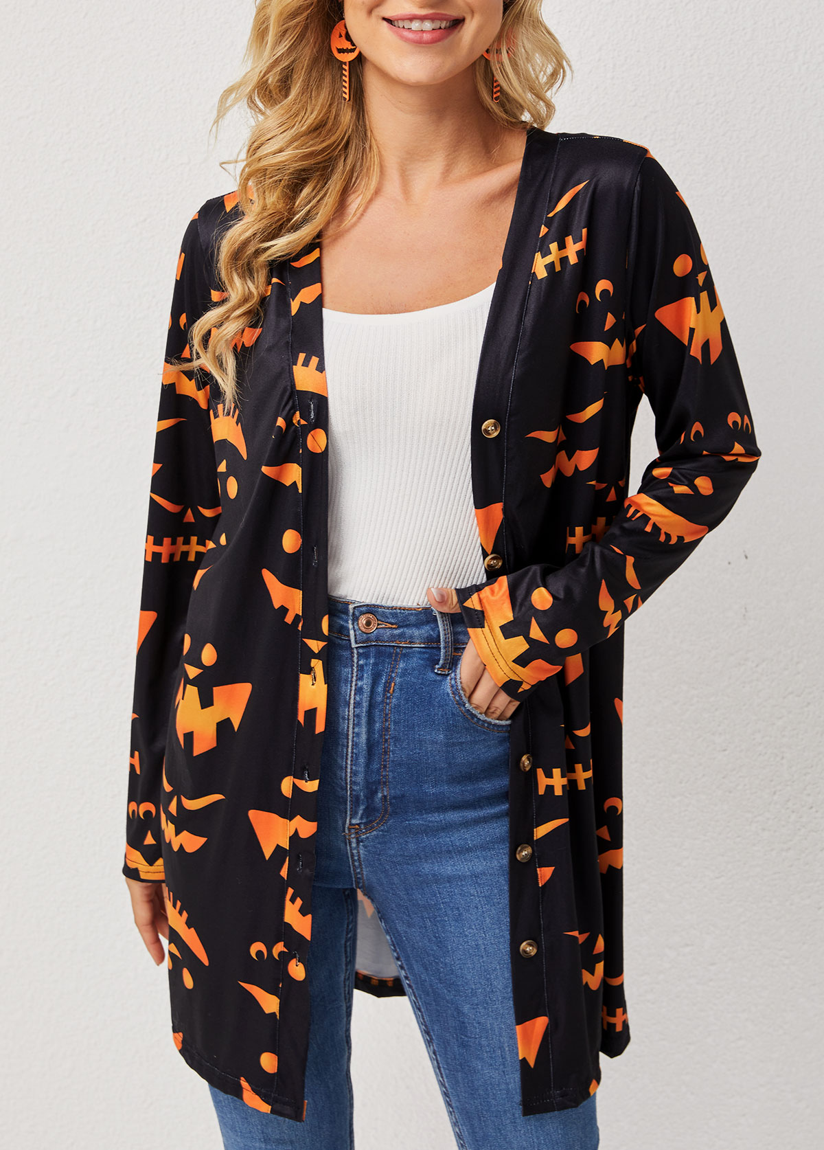 Halloween Pumpkin Print Long Sleeve Cardigan
