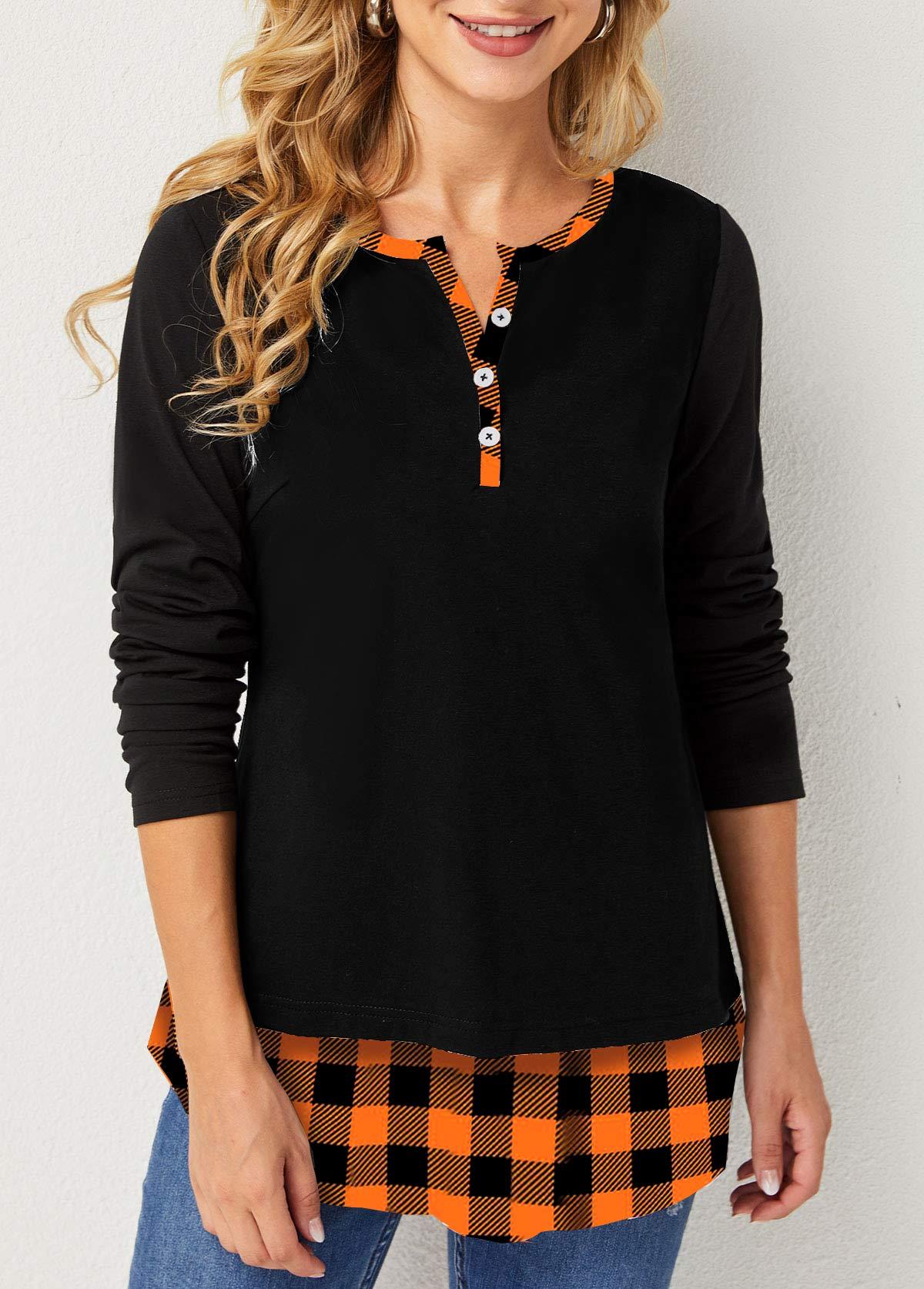 ROTITA Split Neck Decorative Button Plaid T Shirt