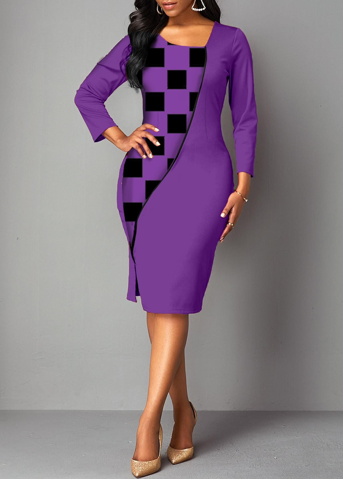 ROTITA 3/4 Sleeve Plaid Asymmetrical Neck Dress