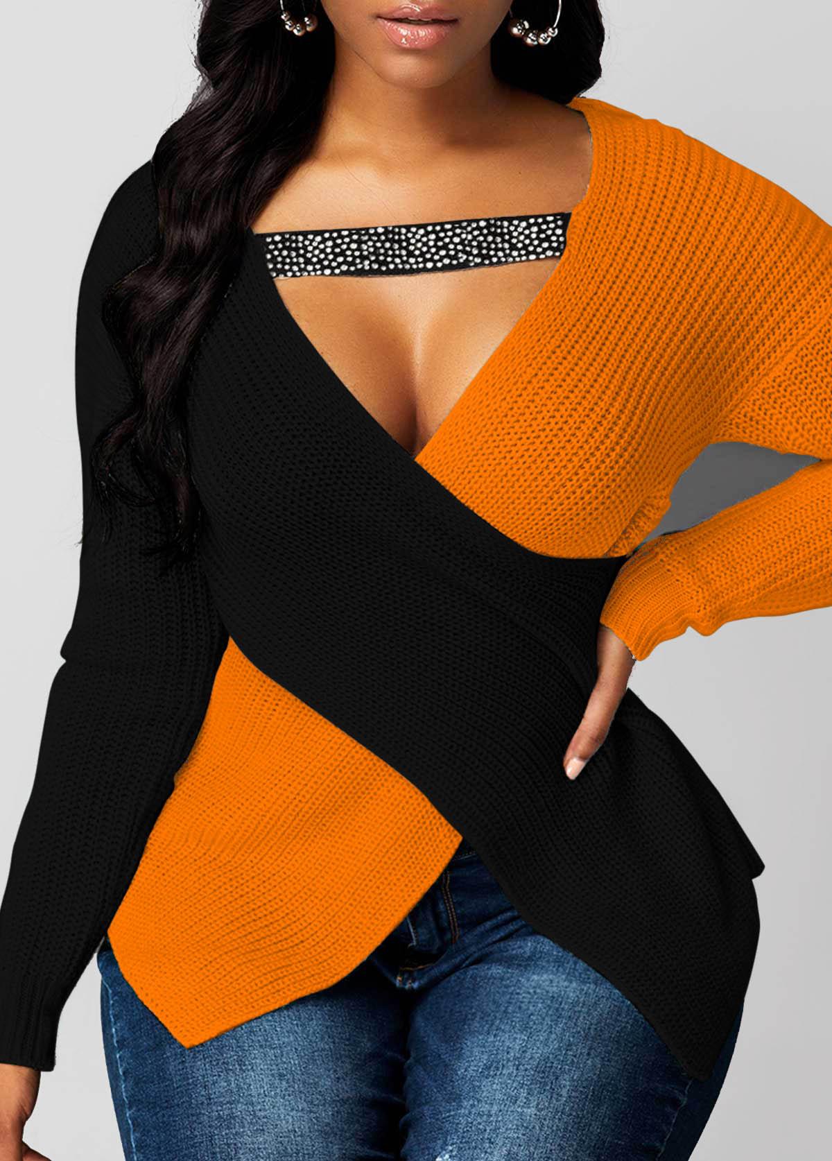 Long Sleeve Asymmetric Hem Contrast Sweater
