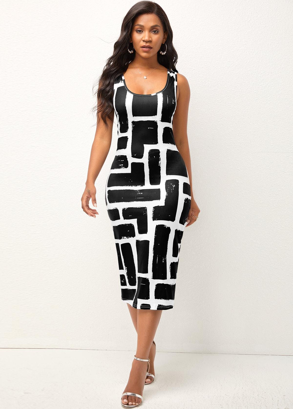 Geometric Print Wide Strap Sheath Dress