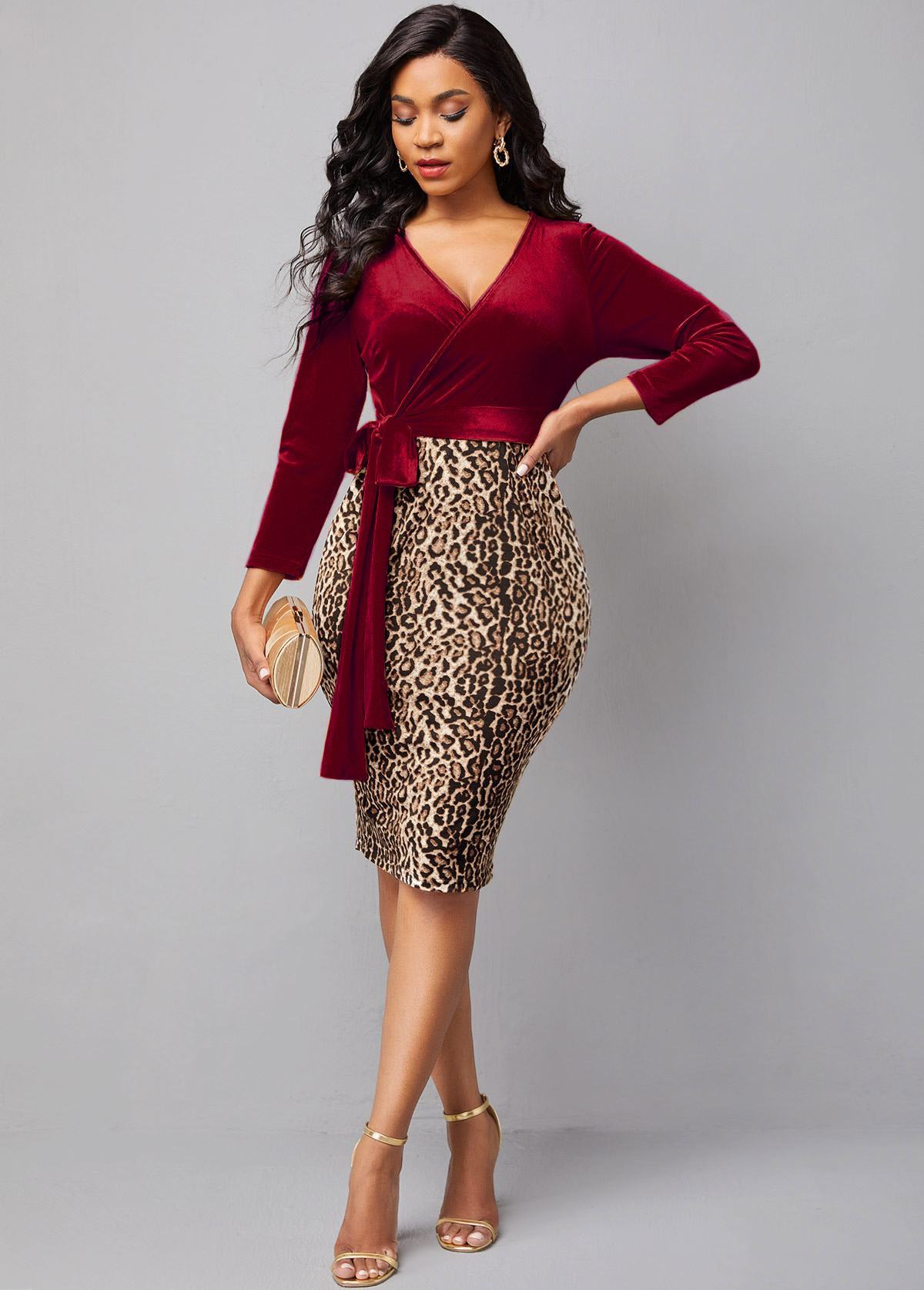 ROTITA Cross Front Velvet Leopard Tie Side Dress