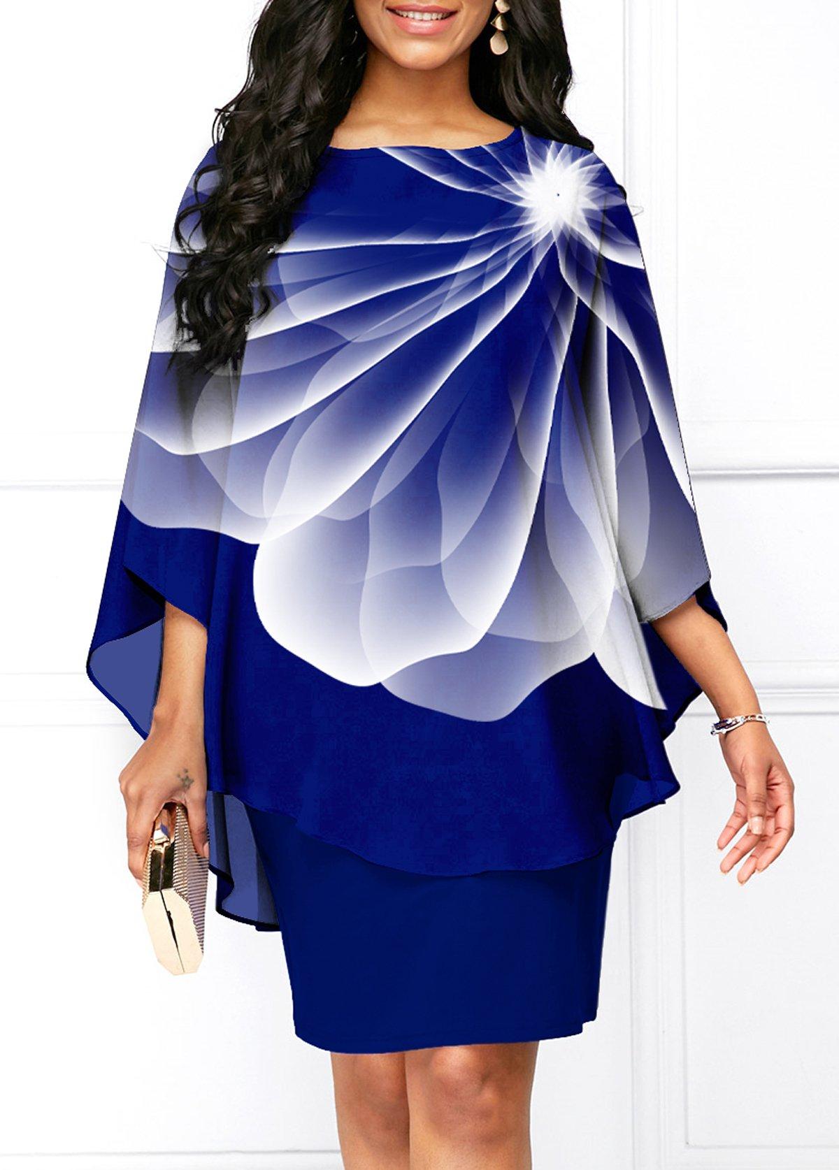 ROTITA Cape Sleeve Floral Print Round Neck Dress