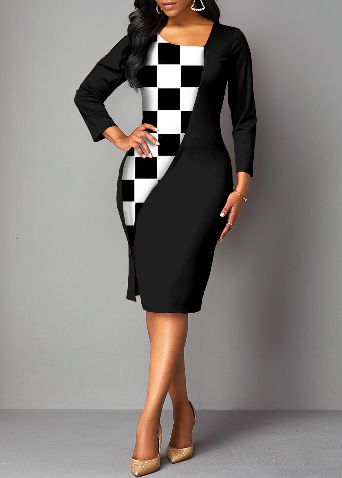 ROTITA Asymmetric Neck Checkered 3/4 Sleeve Dress