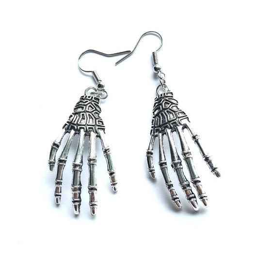 Metal Detail Halloween Skeleton Hand Earrings