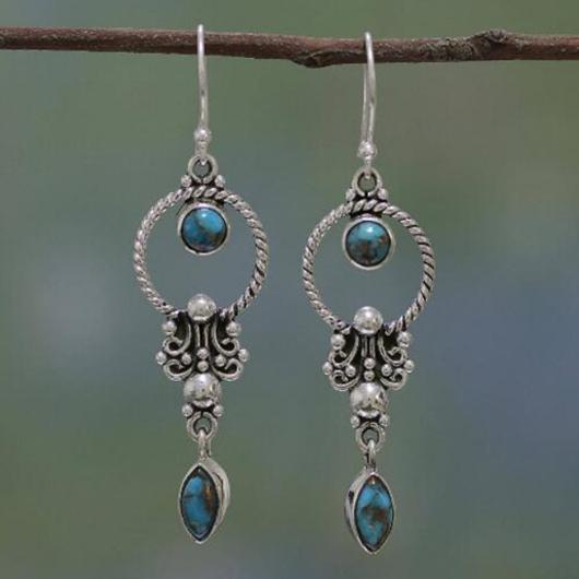 Metal Detail Retro Waterdrop Design Earrings