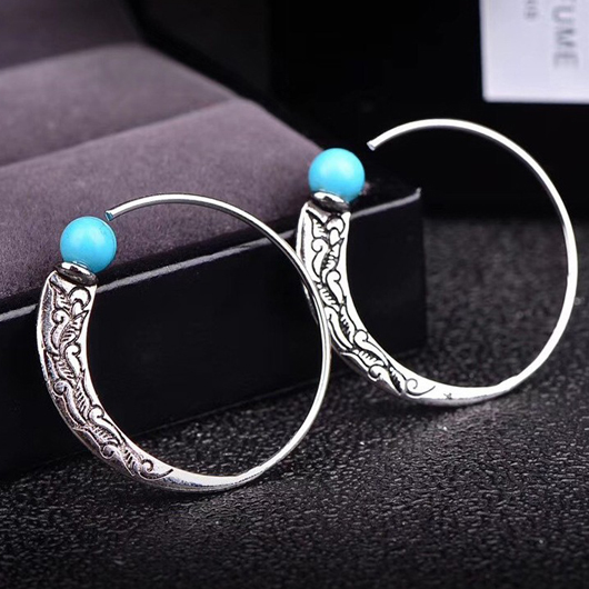 Carved Turquoise Detail Circle Design Earring Set