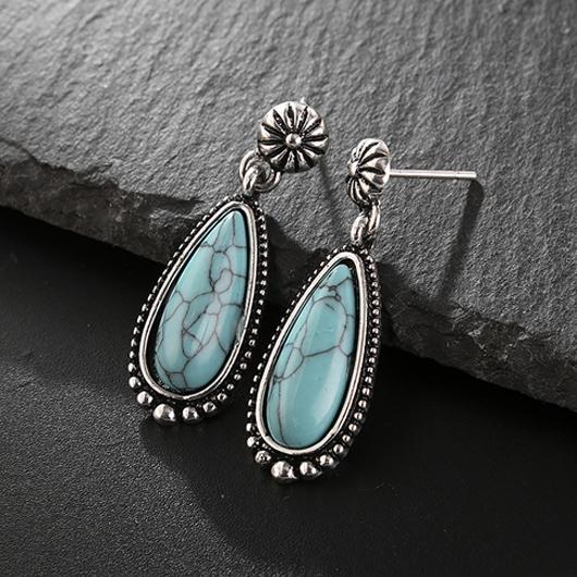 Turquoise Detail Waterdrop Design Metal Earring Set