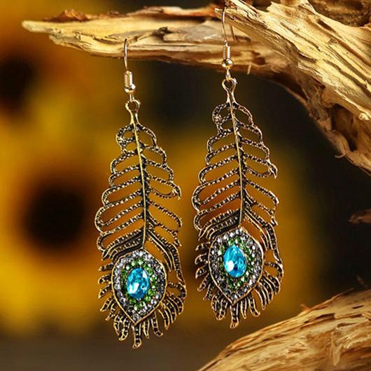 Rhinestone Peacock Feathers Design Metal Detail Earring Set