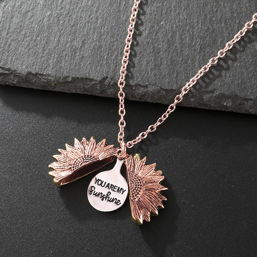 Gold Letter Design Metal Detail Necklace