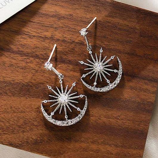 Star and Moon Design Rhinestone Silver Earrings