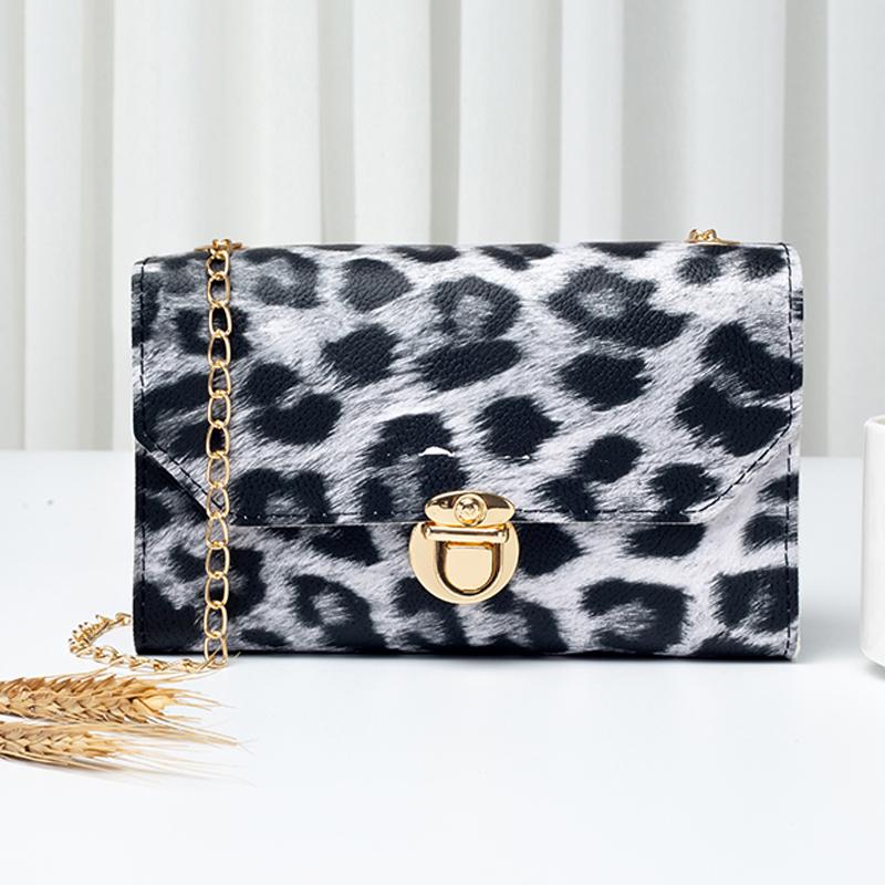 PU Leopard Gold Chain CrossBody Messenger Bag