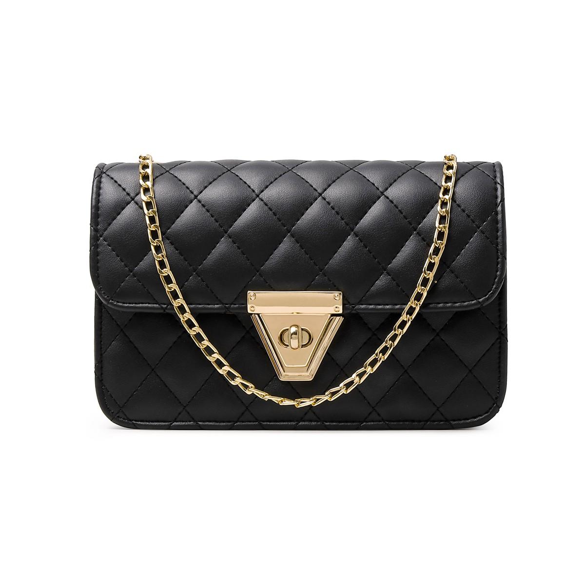 PU Solid Gold Chain CrossBody Messenger Bag