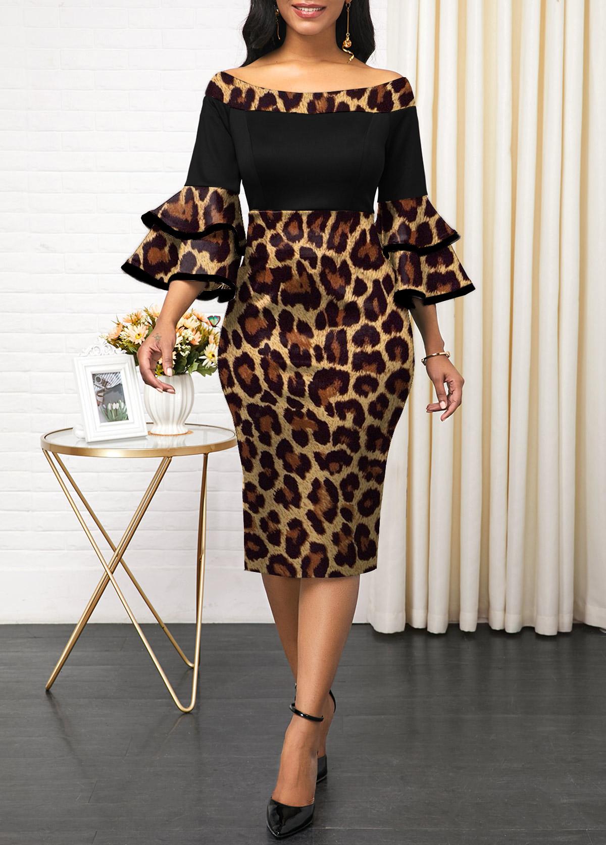 ROTITA Off Shoulder Leopard Layered Bell Sleeve Dress
