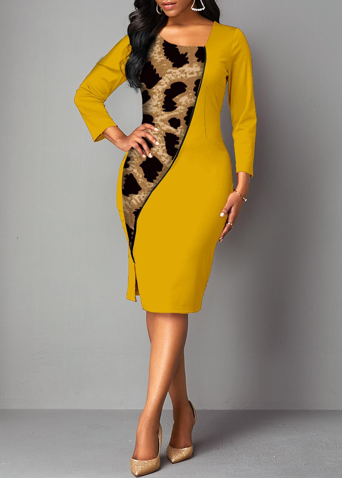 ROTITA Asymmetrical Neck Contrast Leopard Bodycon Dress