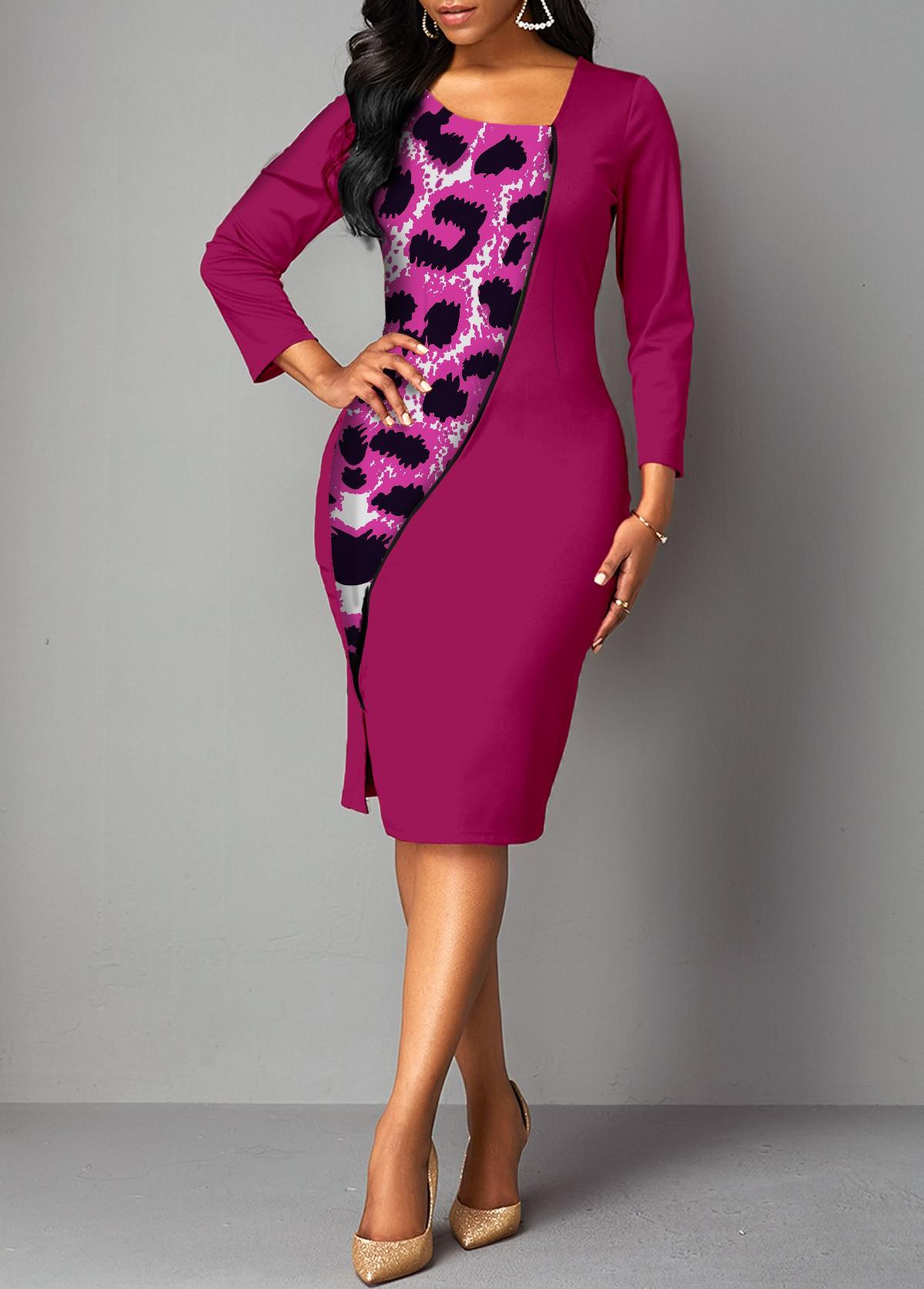 ROTITA Asymmetrical Neck Leopard Contrast Bodycon Dress