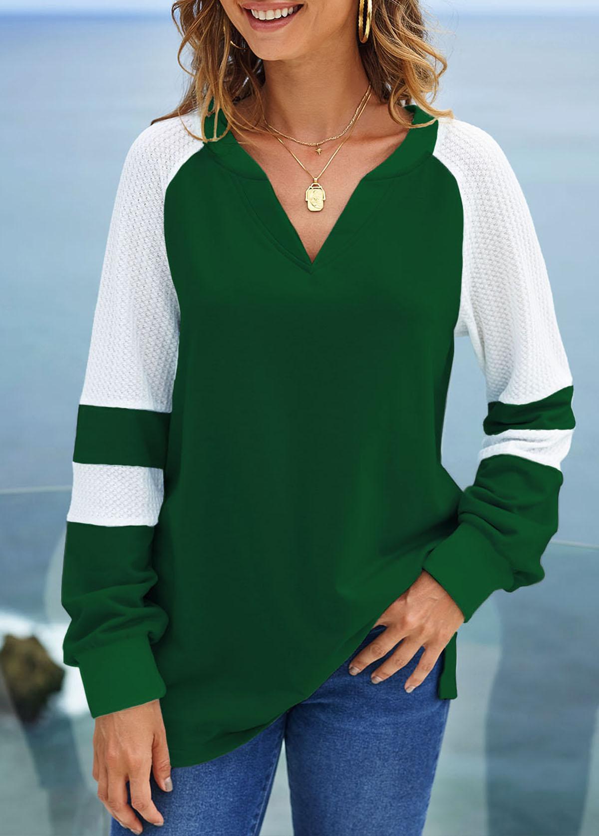 ROTITA Long Sleeve Split Neck Contrast Sweatshirt