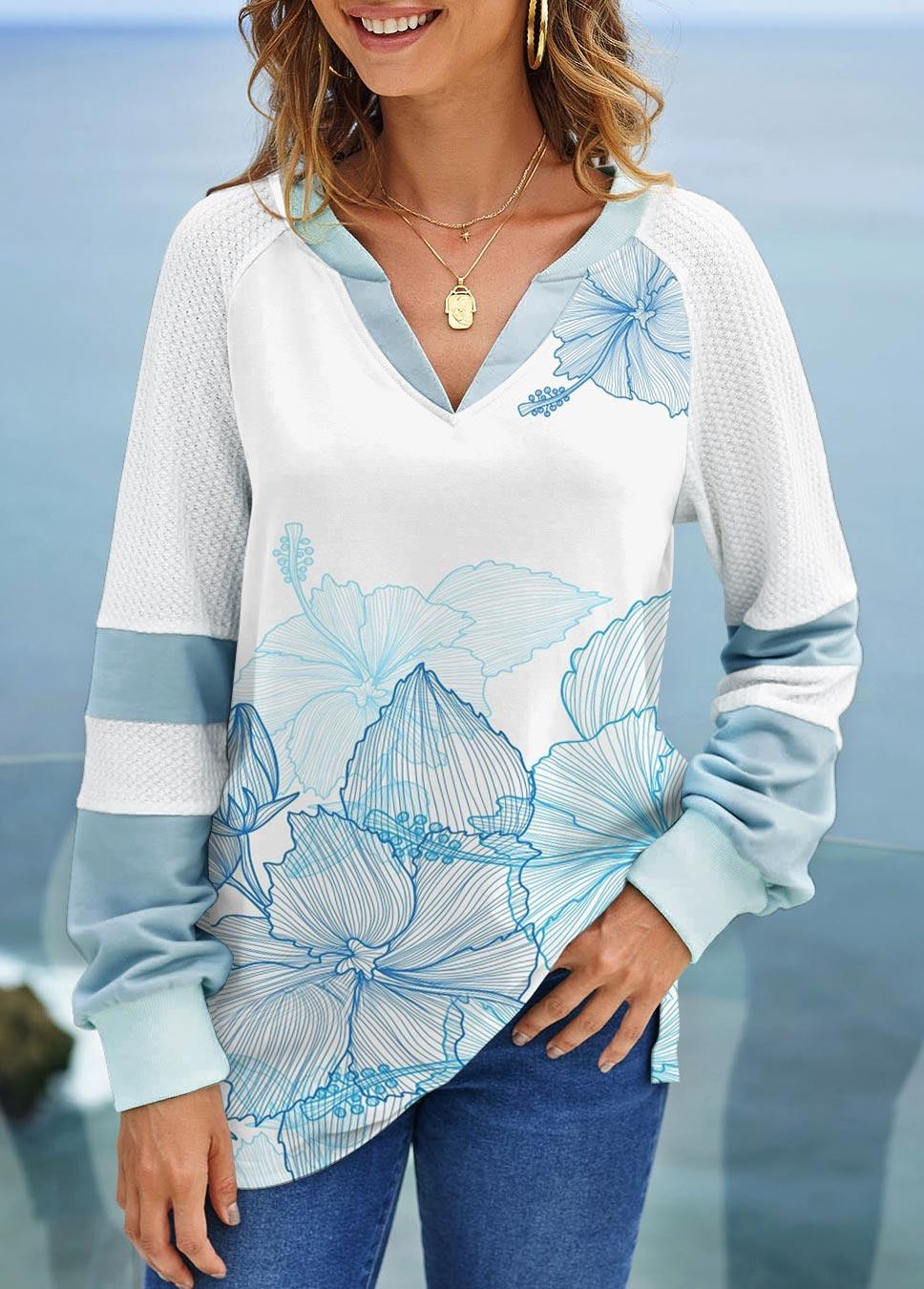 ROTITA Split Neck Printed Long Sleeve Sweatshirt