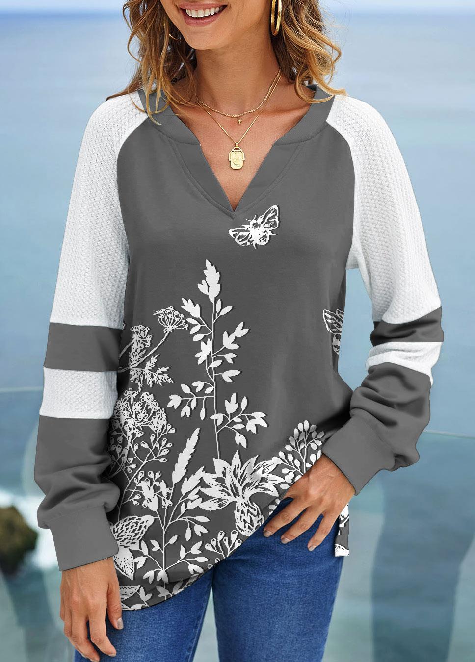 ROTITA Floral Print Long Sleeve Split Neck Sweatshirt