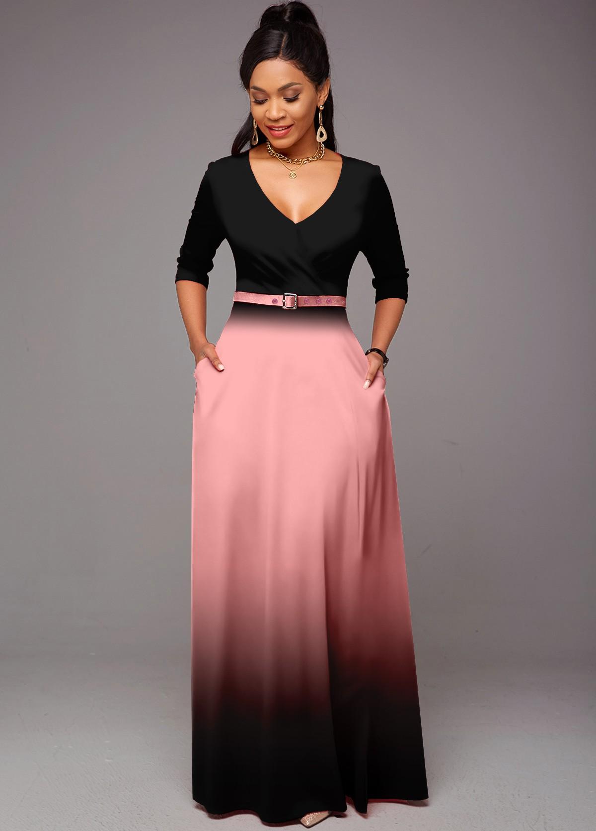 ROTITA Belted Ombre Double Side Pockets V Neck Dress