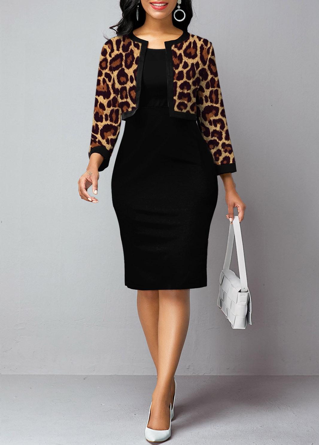 ROTITA Open Front Leopard 3/4 Sleeve Two Piece Dress