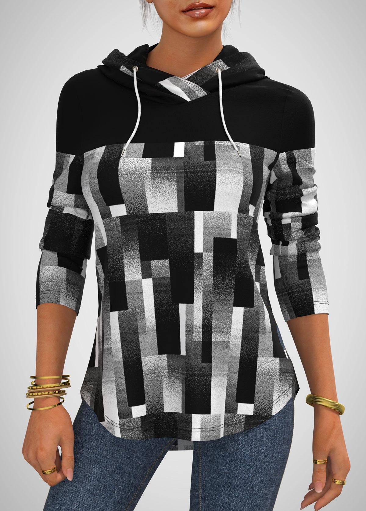 ROTITA Drawstring Detail Striped Long Sleeve Hoodie