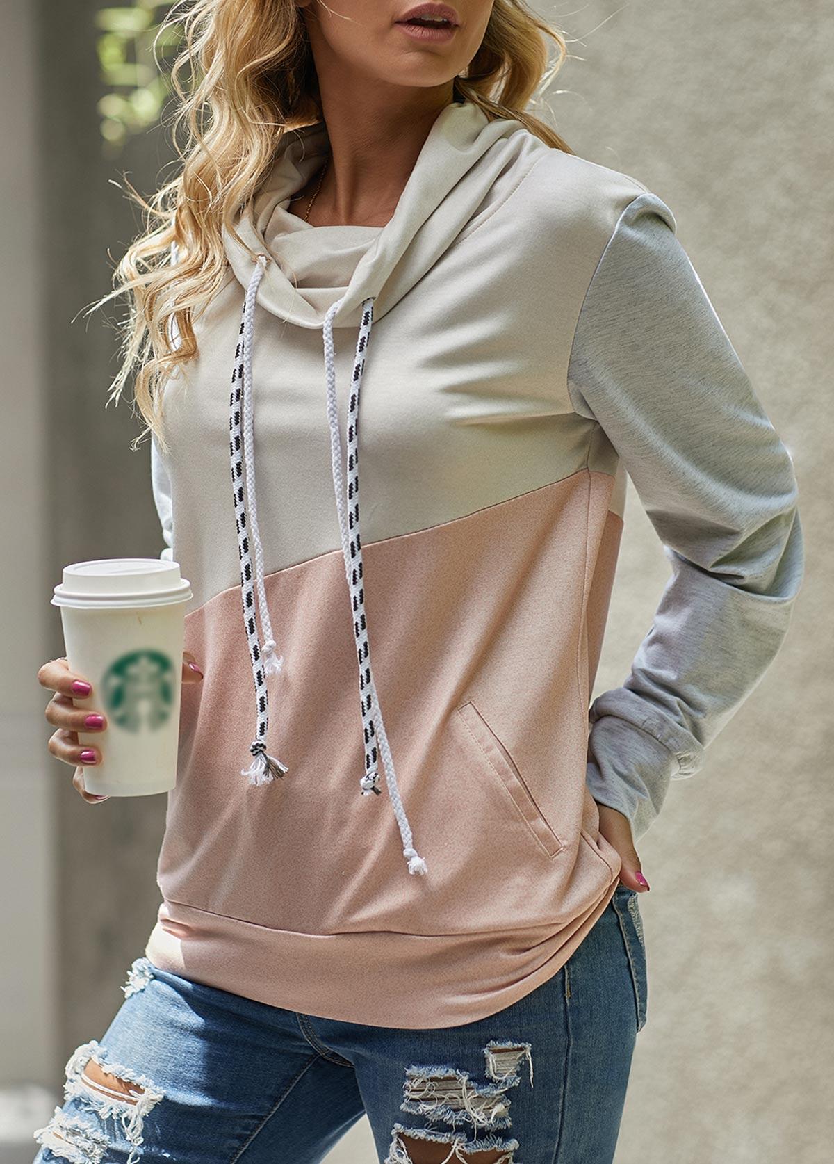 ROTITA Cowl Neck Contrast Long Sleeve Sweatshirt