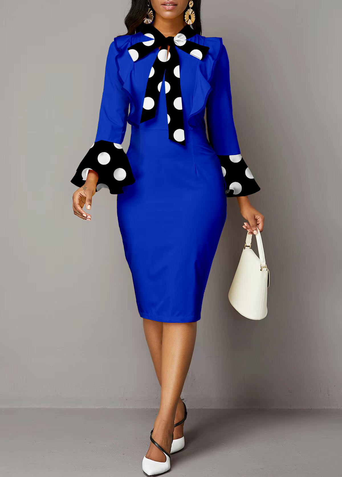 ROTITA Polka Dot Tie Long Sleeve Dress
