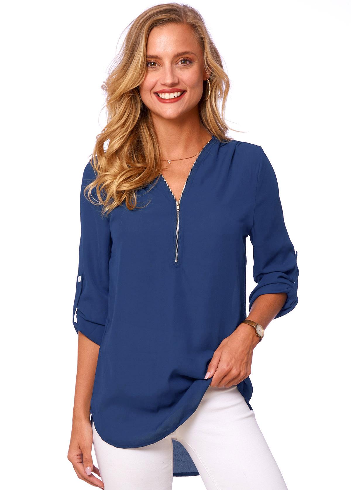 Quarter Zip Solid Long Sleeve T Shirt