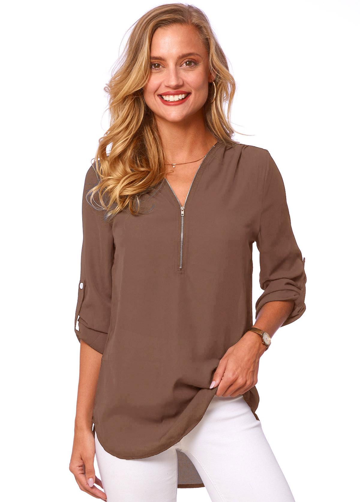 V Neck Solid Quarter Zip T Shirt