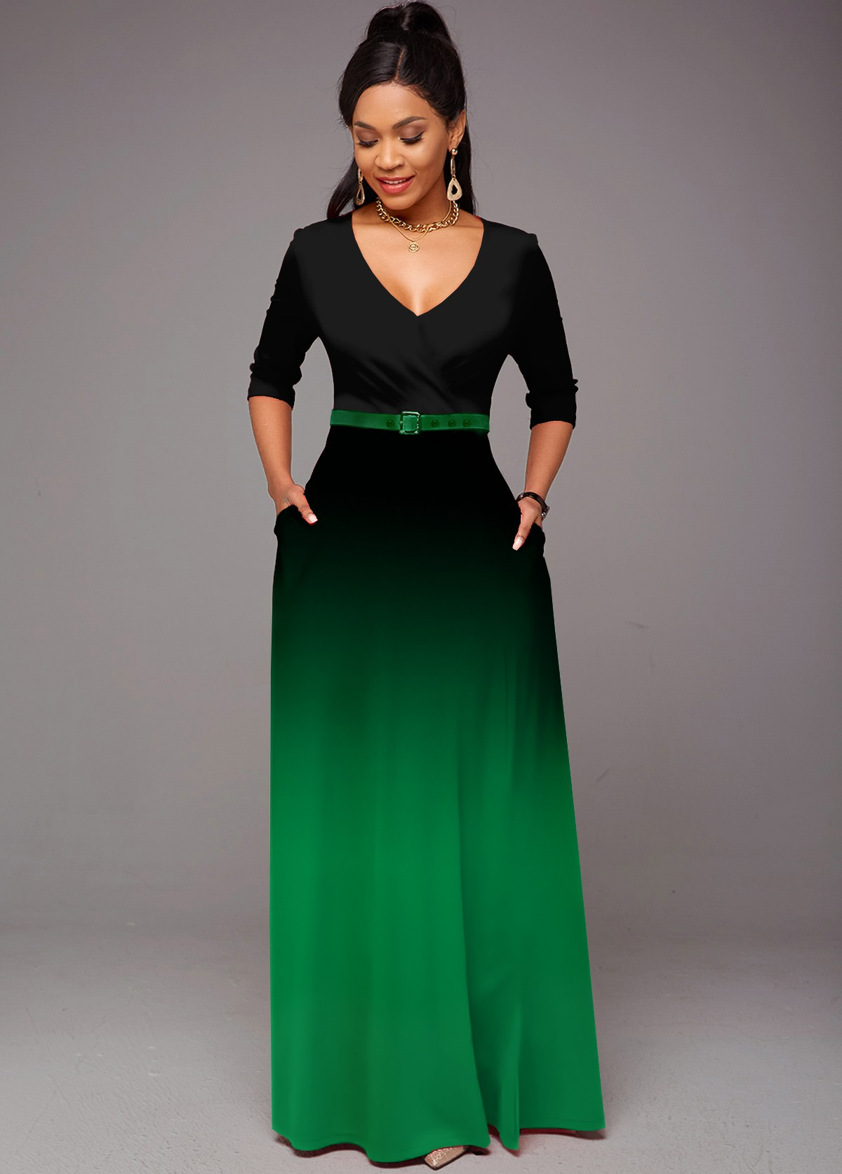 ROTITA 3/4 Sleeve Ombre V Neck Pocket Dress