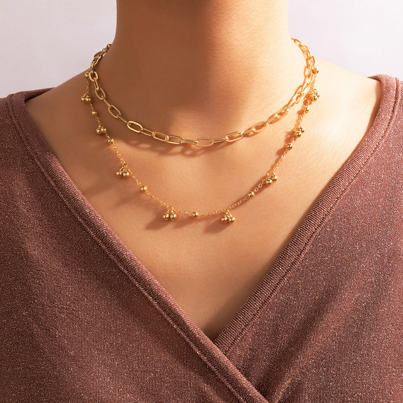 Gold Chain Layered Metal Detail Necklace