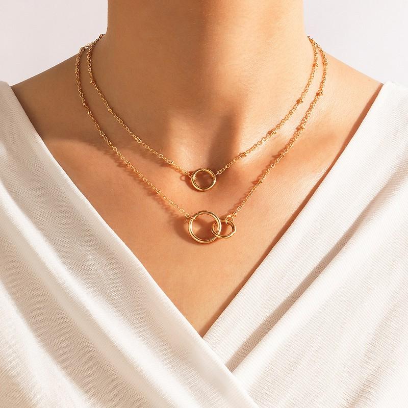 Gold Metal Detail Layered Circular Shape Necklace