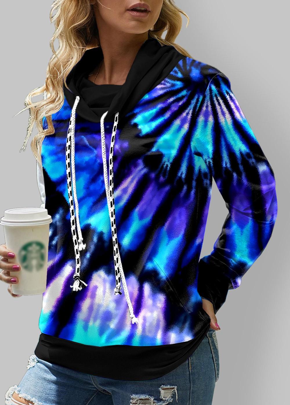 ROTITA Tie Dye Print Cowl Neck Long Sleeve Sweatshirt