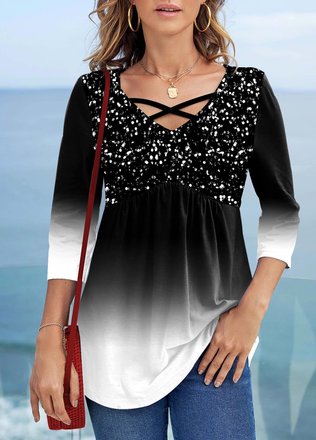 ROTITA Sequin Ombre 3/4 Sleeve Cross Strap T Shirt