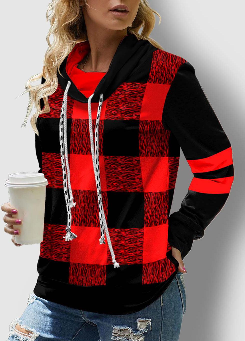 ROTITA Drawstring Neck Contrast Long Sleeve Plaid Sweatshirt
