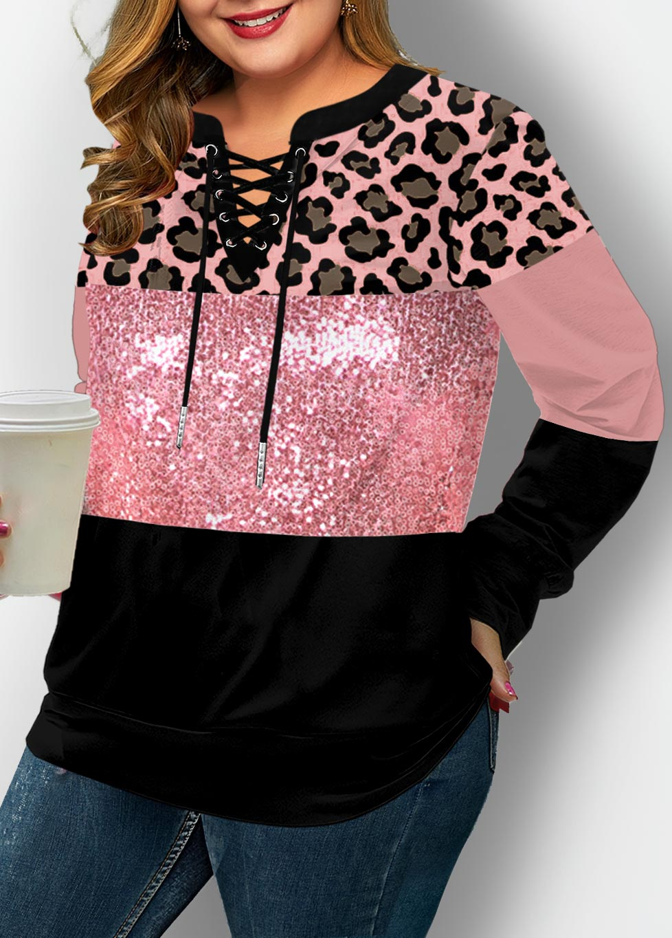 ROTITA Plus Size Lace Up Sequin Panel Leopard Sweatshirt