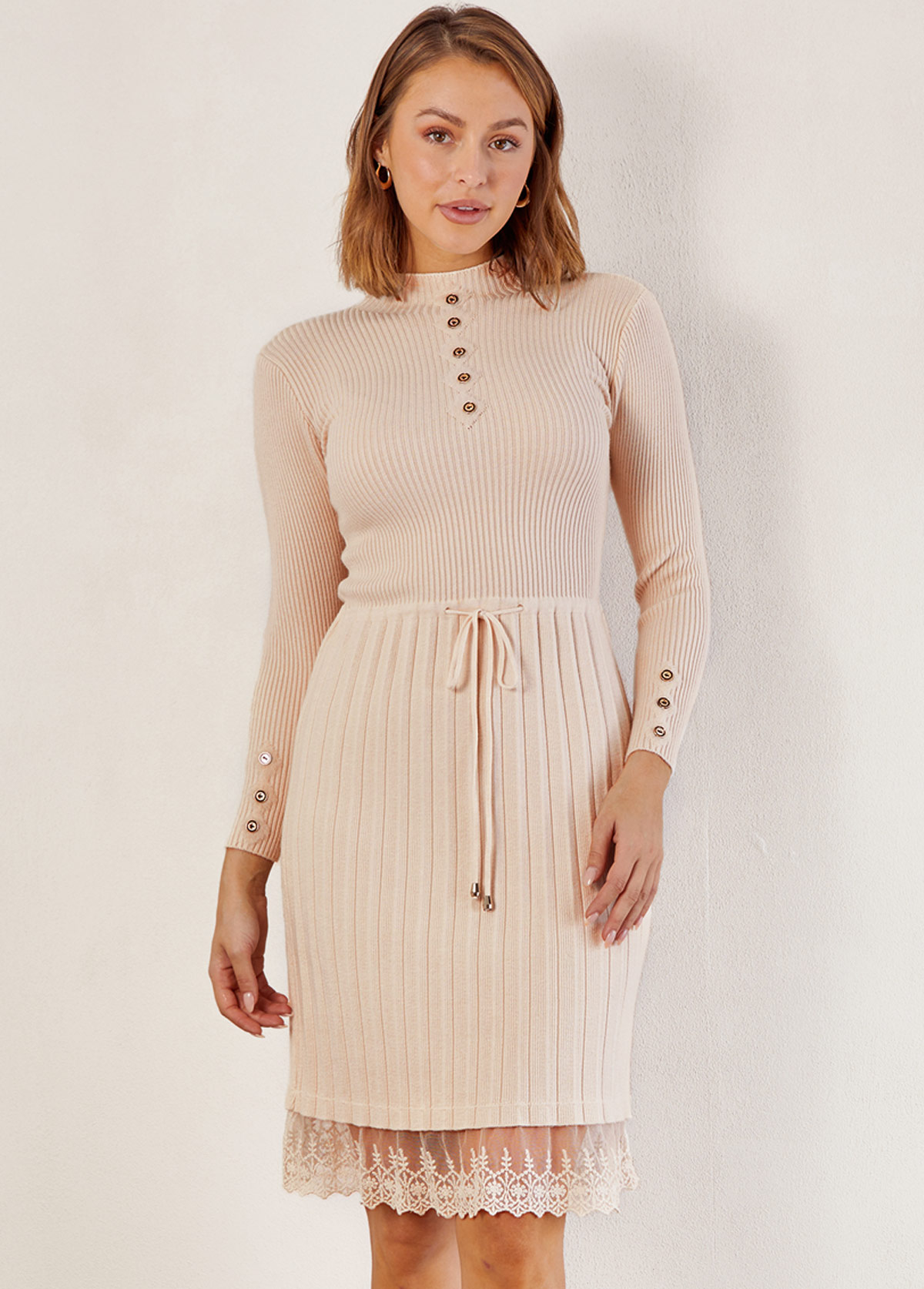 Solid Lace Patchwork Mock Neck Dress