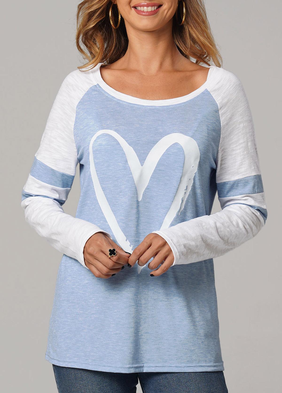 ROTITA Heart Print Round Neck Long Sleeve T Shirt