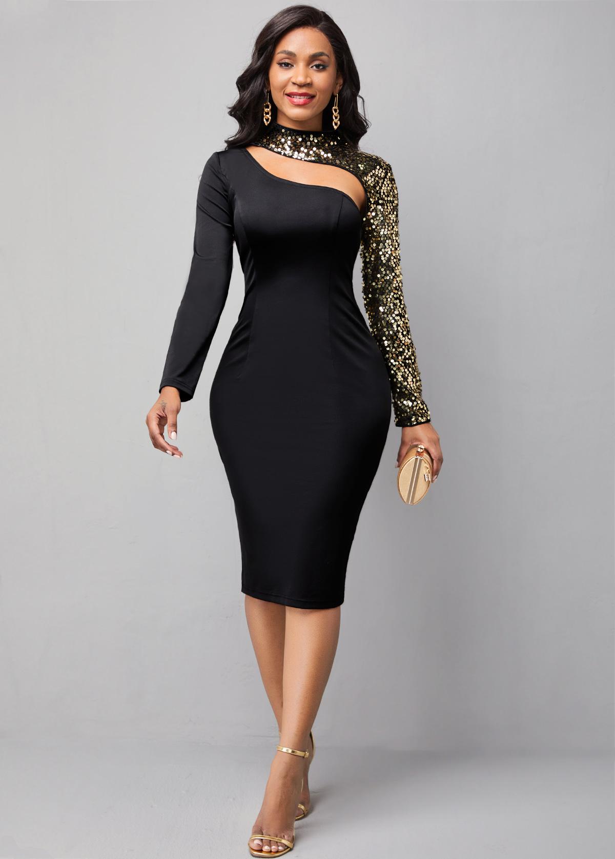 ROTITA Cutout Front Sequin Long Sleeve Dress