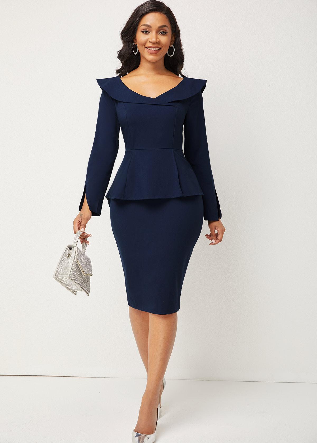 ROTITA Peplum Waist Turndown Collar Long Sleeve Dress