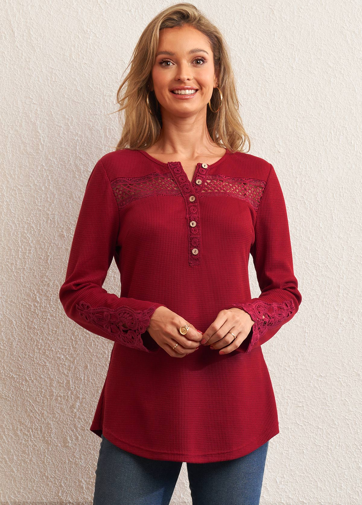 ROTITA Solid Lace Patchwork Split Neck Tunic Top