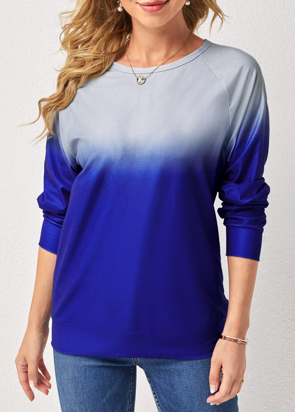 ROTITA Ombre Print Round Neck Long Sleeve Sweatshirt