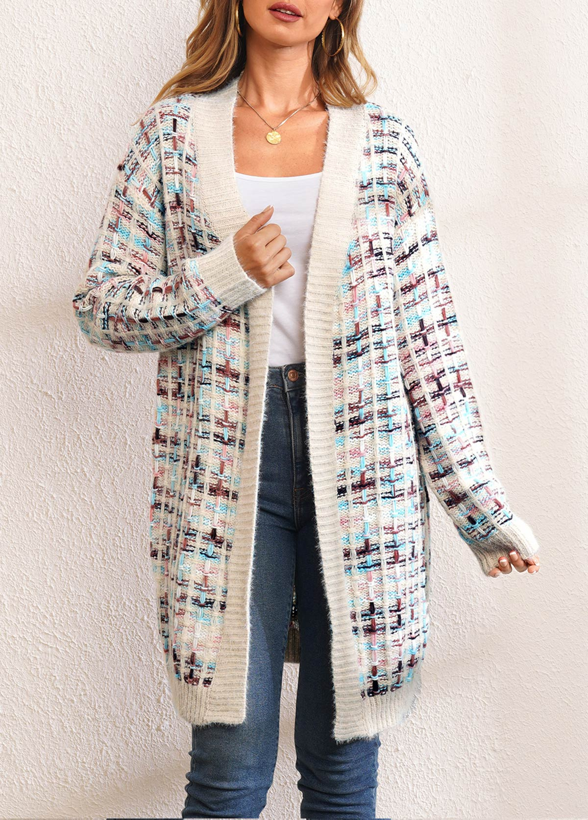 Long Sleeve Colorful Open Front Cardigan